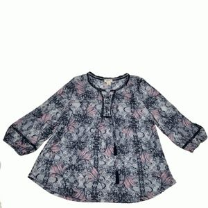 Style Co Lace-Up Peasant Top Tile Toss XLarge